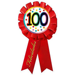 Escarapela 100 cumpleaños roja