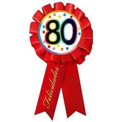 Escarapela 80 cumpleaños roja