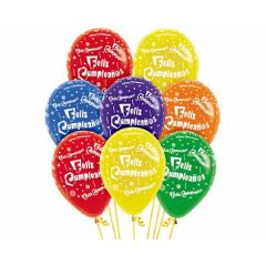 Globos de Látex Feliz Cumpleaños. Pack 10 unidades