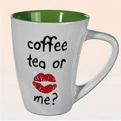 Taza coffe, tea or me?, blanca y verde