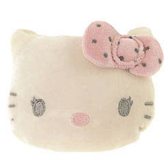 Monedero Hello Kitty cara muñeca lazo rosa forma con lunares negros