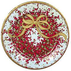 Pack 8 platos Navidad corona 27 cm diámetro