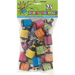 Pack 25 party popers (mini lanzador de serpentina)