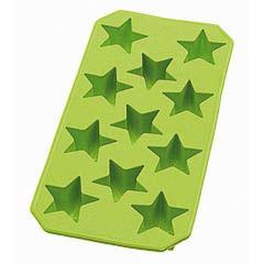 Cubitera hielo de silicona verde con forma de estrellas