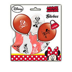 Globos de Látex Minnie Mouse colores surtidos. Pack de 10 globos
