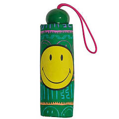 Paraguas plegable Smiley Face verde con dibujos
