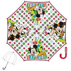 Paraguas infantil Mickey Mouse transparente mango rojo