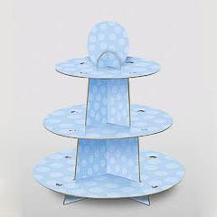Bandeja cupcakes 3 pisos cartón celeste