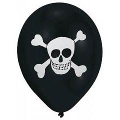Globos de Látex Negros Piratas. Pack 8 unidades