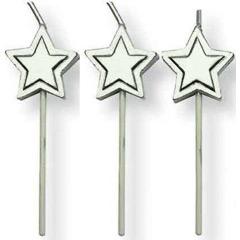 Velas con palo estrella plata, Pack 8 u.