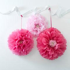 Pompones flores tonos rosa, 3 u diferentes medidas