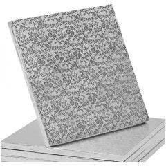Base/cake drum cuadrada para tartas en color plata 25x25 cm