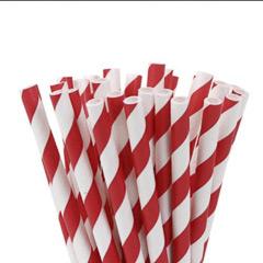 Pajitas/palillos cake pops rojo y banco 15,00 cm, Pack 20 u.