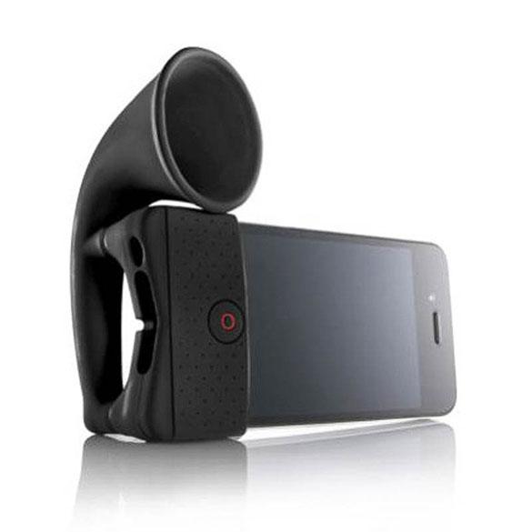 Amplificador iPhone 4 retro negro tipo cuerno