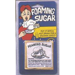 Sobre de azúcar espuma, broma
