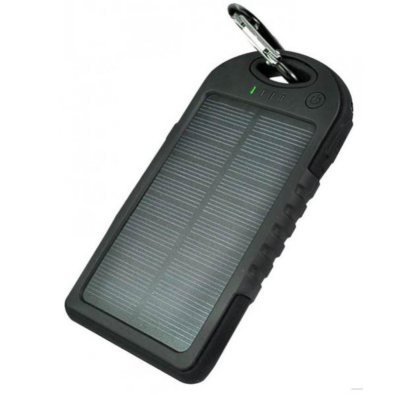 Cargador solar 500 mAh con linterna y mosquetón