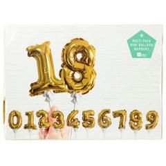 Globos dorados con forma de números del 0 al 9, pack 10 u
