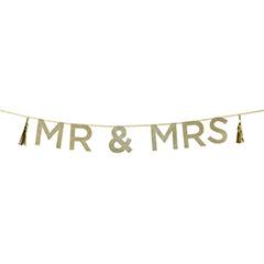 Guirnalda MR & MRS dorada con purpurina