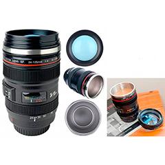 Vaso termo modelo objetivo cámara de fotos