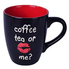 Taza cerámica bicolor coffe, tea or me?