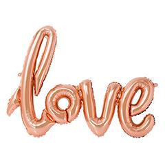 Globo frase Love tono rosa- bronce 73 x 53 cm