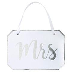 Decoración boda Cartel Mrs de cartón