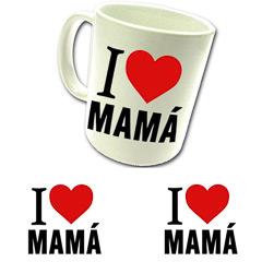 Taza cerámica con texto I love Mamá