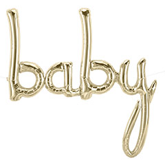 Globo texto baby oro blanco 77 x 86 cm