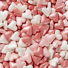 Decoración de azúcar comestible corazones, Wilton