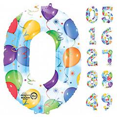 Globos con formas de números y dibujos globos y serpentinas