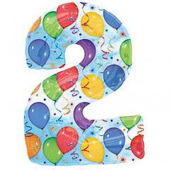 Globo Nº 2 con forma y dibujos globos y serpentinas