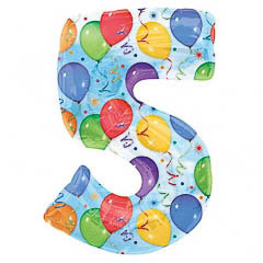 Globo Nº 5 con forma y dibujos globos y serpentinas