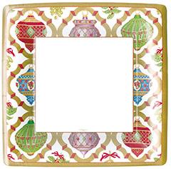 Platos Ornamentos Navidad cuadrados 26 cm, Pack 8 u.