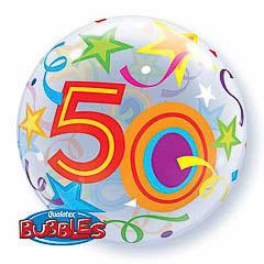 Globo transparente decorado burbuja 50 años