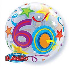 Globo transparente decorado burbuja 60 años