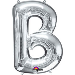 Globo letra B con forma plateado