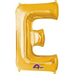 Globo letra E con forma dorado