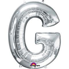 Globo letra G con forma plateado