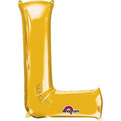Globo letra L con forma dorado
