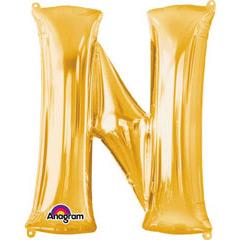 Globo letra N con forma dorado