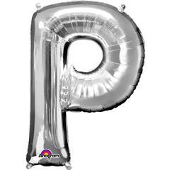 Globo letra P con forma plateado