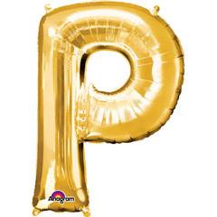 Globo letra P con forma dorado