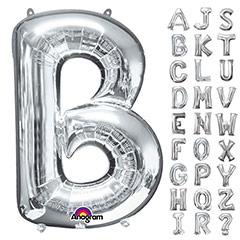 Globos con forma letras de la A a la Z Plateados