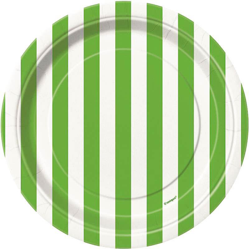 Platos rayas verdes y blancas 17,50 cm, Pack 8 u.