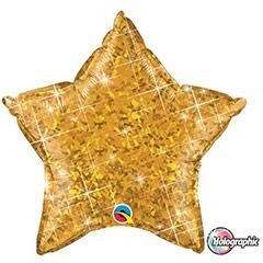 Globo Estrella holográfica dorado