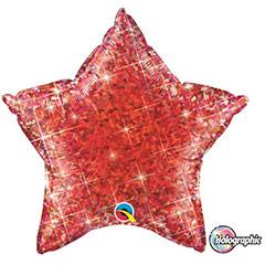 Globo Estrella holográfica rojo