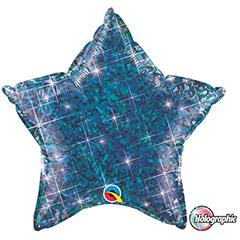 Globo Estrella holográfica azul