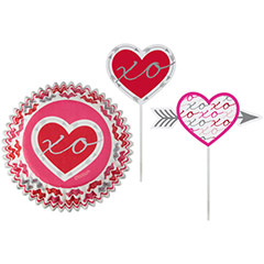 Cápsulas y decoración cupcakes corazones, Pack 48 u.