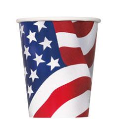 Pack 8 vasos cartón encerado bandera USA