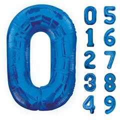 Globos con formas de números azules